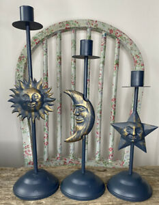 Vtg 90s Style Sun Moon & Star Candlestick Holders Blue & Gold Boho Hippy Decor