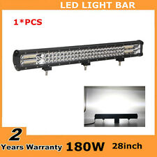"Tri Row 28inch 396W Led Light Bar Flood Spot Offroad Boat Driving 30/32"" PK 180W"