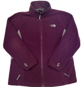 The North Face Girl's Purple And Gray Full Zip Fleece Jacket Size XL
