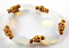 "Carved Bone Skull Opal Gemstone Stretch 7.25"" Bracelet Earring Set FREE 1968sm"