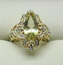 Beautiful 9 carat Gold Large Citrine And Diamond Ladies Dress Ring Size N