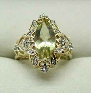 Beautiful 9 carat Gold Large Citrine And Diamond Ladies Dress Ring Size N