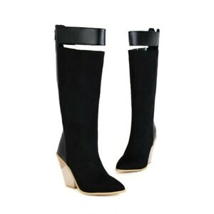 Women's Pointy Toe Block Heel Mid-Calf Knee High Knight Biker Boots Outdoor 48 L