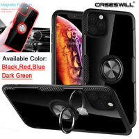For iPhone 11 Pro X XR XS Max 8 7 6 Plus SE Slim Ring Holder Clear Case Cover