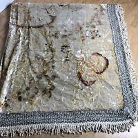 """Vintage Italian Velvet Bedspread Wedding Fringe Coverlet Ivory Floral 83"""" x 88"""""""