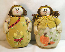 Thanksgiving Decorations, Boy Girl Pilgrim Fabric Bean Filled Plush Fall Decor