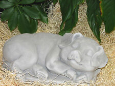"Sleeping Pig Hog Boar Cement 12"" Garden Statue Natural Gray Concrete Made in Usa"