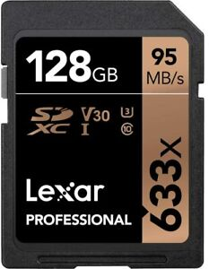 Lexar 128 GB Professional Class 10 UHS-I 633x Speed SDHC Flash Memory Card Black
