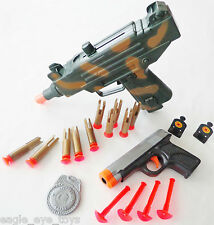 2X Toy Guns! Toy UZI Dart Gun & Grey 9MM Dart Pistol Set SAFE