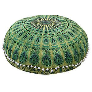 Indian Green Floor Large Mandala Cushion Pillow Throw Bohemian Case Round Pouf