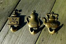 Vintage brass hook nice design project replacement collector kettle shape set 3x