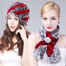 100%Real Rex Rabbit Fur Scarf & Hat Scarves Cowl Wrap Keep warm Scarf Hat Gift