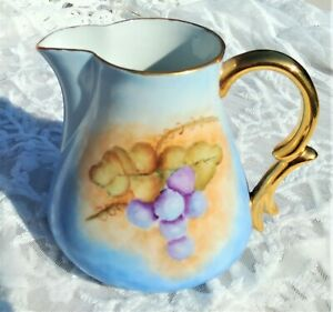 Antique * ~ Hand Painted  ~ * PITCHER *Signed* Grapes Gold Trim 5-3/4