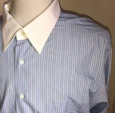 Ermenegildo Zegna Su Misura Mens Dress Shirt Blue White Stripe Sz 18.5 38 French
