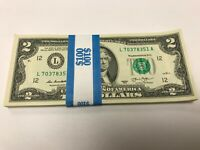 $2 TWO DOLLAR BILL NOTE USD UNCIRCULATED SEQUENTIAL ORDER 2013 LUCKY NEW CRISP