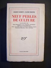 Neuf Perles de Culture (Pastiches) / J.Laurent & C.Martine / Gallimard-NRF -1952
