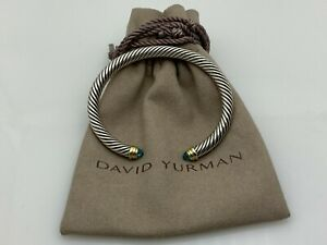David Yurman Cable Classic Collection Bracelet with Blue Topaz and 14K Yellow