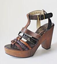 ROBERT CLERGERIE CLOG PLATFORM SANDALS 9 Stappy Studden BARNEYS Shoes Wood Heels