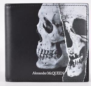 New Alexander McQueen Men's 550818 Torn Skull Black Leather Bifold Wallet