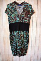 Sacha Drake Dress Size 16 Xl Green Blue Black Stretch