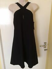 Zara Black Short Dress With Open Back Straps Size L, Uk12