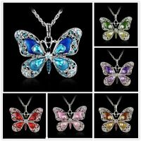 Fashion Rhinestone Alloy Crystal Butterfly Pendant Necklace Long Sweater Chain