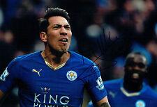 Ulloa Leicester City argentino Loenardo firmado autógrafo 12x8 Foto AFTAL cert. de autenticidad