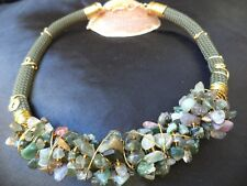 Bohemian Rope Jasper Gemstone nuggets Gold wire wrapped Boho Statement NECKLACE