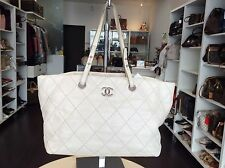 Chanel Ivory Dark White Stitched Tote Handbag Purse Shop Our store