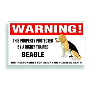 Warning DECAL trained BEAGLE hunting dog bumper or window sticker
