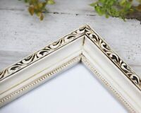 Antique white shabby farmhouse chic 8x10 ornate wood wall gallery picture frame