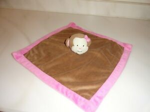 Tiddliwinks Girl Monkey Security Blanket Lovey Baby Plush Brown and Pink Trim