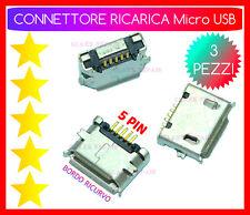 x 3 CONNETTORI RICARICA Micro USB 5 PIN 2 FISSAGGI Orizzontali TABLET SMARTPHONE