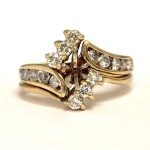 14k yellow gold .82ct SI3-I1 H diamond engagement semi mount ring wrap 7.2g