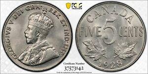 1928 Canada 5 Cents PCGS MS63 Lot#A213 Choice UNC!