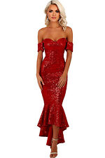 Red Sequin Long Dress Club Wear Fashion Evening Wear Size S M L