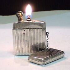 Briquet ancien FLAMIDOR PARIS Argent Solid Silver Lighter Feuerzeug Accendino