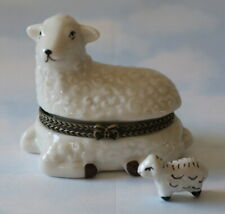 New  Handpainted Country Farm White Sheep Lamb Porcelain Hinged Trinket Box phb