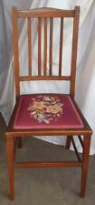 Gorgeous Antique Victorian Side Chair - Embroidery Upholstery - EXQUISITE INLAYS