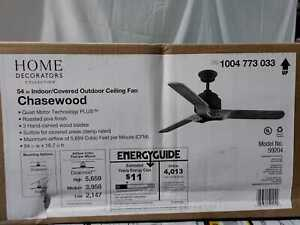 Chasewood 54 in. Indoor/Outdoor Roasted Java Ceiling Fan w/Remote C. by HDC