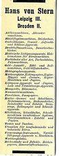 Hans von Stern Leipzig/Dresden Büroartikel u. Maschinen Historische Reklame 1912