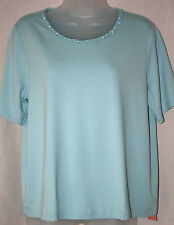 Marks & Spencer (UK14 / EU42) Dusty Blue CLASSIC COLLECTION t-shirt - NUOVO