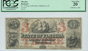 $3 1863 Florida Tallahassee BankNote PCGS Very Fine 20 CR17 Low Serial #847