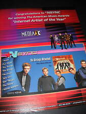Nsync Internet Artists Of Year 2001 Promo Poster Ad