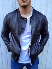 All Saints HUDSON Leather Bomber Jacket Black MEDIUM *Sought After*