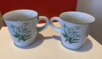 2 Noritake Mountain Flowers Green Stoneware Coffee Tea Mug Cups 8oz 8343 Japan