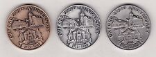 OXFORD,MASS TOWN MEDALS 1713-1988 BRONZE,PEWTER+.999 SILVER THREE MEDALS IN BOX