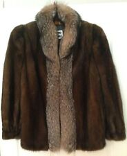 Women's Luxury SAGA Mink Coat With Silver Fox Fur Collar Hip Length Size 12