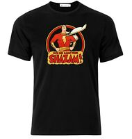 Shazam Classic Cartoon Black T-Shirt - Available M L XL