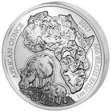 Ruanda - 50 Francs 2017 - Flusspferd - African Ounce (10.) - 1 Oz Silber PP